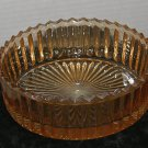Vintage Peach Iridescent Pearl Glass Trinket bowl - saw tooth edging Nice Luster