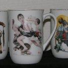 * 3 Norman Rockwell print Mugs cup - Satuarday Evening Post