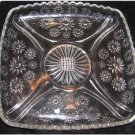 Vintage Daisy carved Crystal Glass Mint, Candy, Nuts, Trinket or Candle Dish Pla