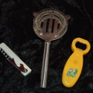 Barware Waiters Corkscrew Hawthorne Strainer and Can Opener