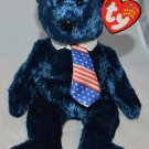 Ty Beanie Baby Fuzzy Navy Blue Pops Bear Tush tag 2002 swing tag 2001
