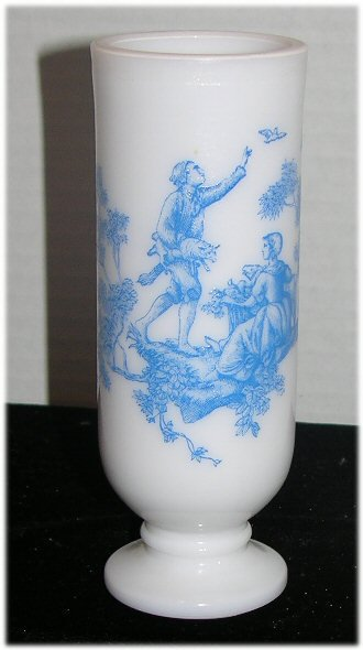 3 Beautiful Vintage Milk Glass Skinny Bugs with Deft Blue Scene Lady & Man