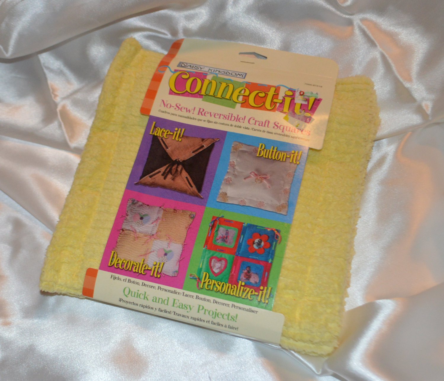 Daisy Kingdom Connect-it No-Sew Reversible Craft Squares Yellow Terry Cloth Butt