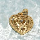Gold Tone Metal Heart Carved Heart Jewelry Pendant Valentine
