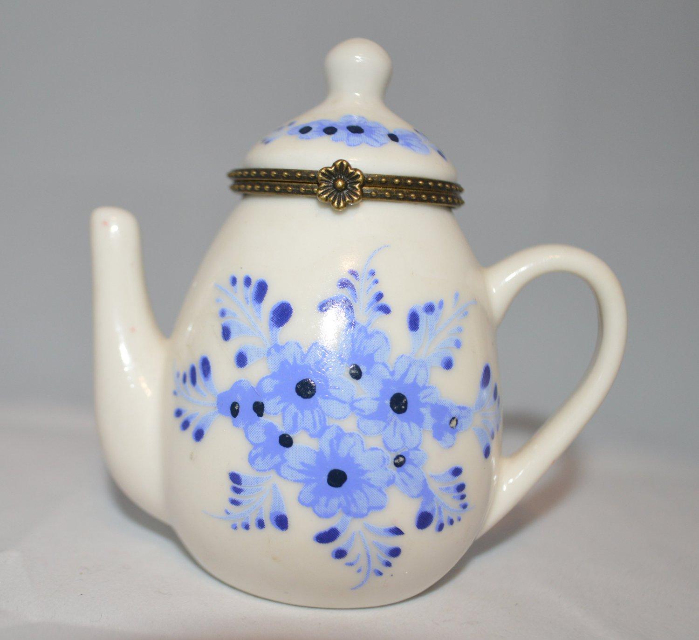 Miniature White Teapot with Blue Flowers Hinged Trinket Box Tea Pot Coffee Adora