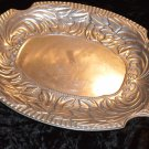 Large Wilton Pewter Hammered Platter Leaf Design Silver Shine