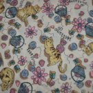 "Cats Yarn & PURRRR Cotton Fabric on cream background Material 70"" x 45"""