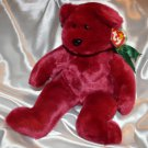 "Ty Beanie Buddy  Teddy 15"" Bear Magenta Cranberry Maroon Red Color"