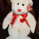 "Ty Beanie Buddy Buddie White Bear Valentino - 15"" Bear Red Heart"