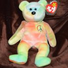 Ty Beanie Baby Tied Dyed Peace Bear #120 tush tag1996 swing tag