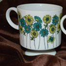 4 Small Delicate Porcelain Teacup Mug Pedestal Cup Yellow & Teal Daisies & Butte