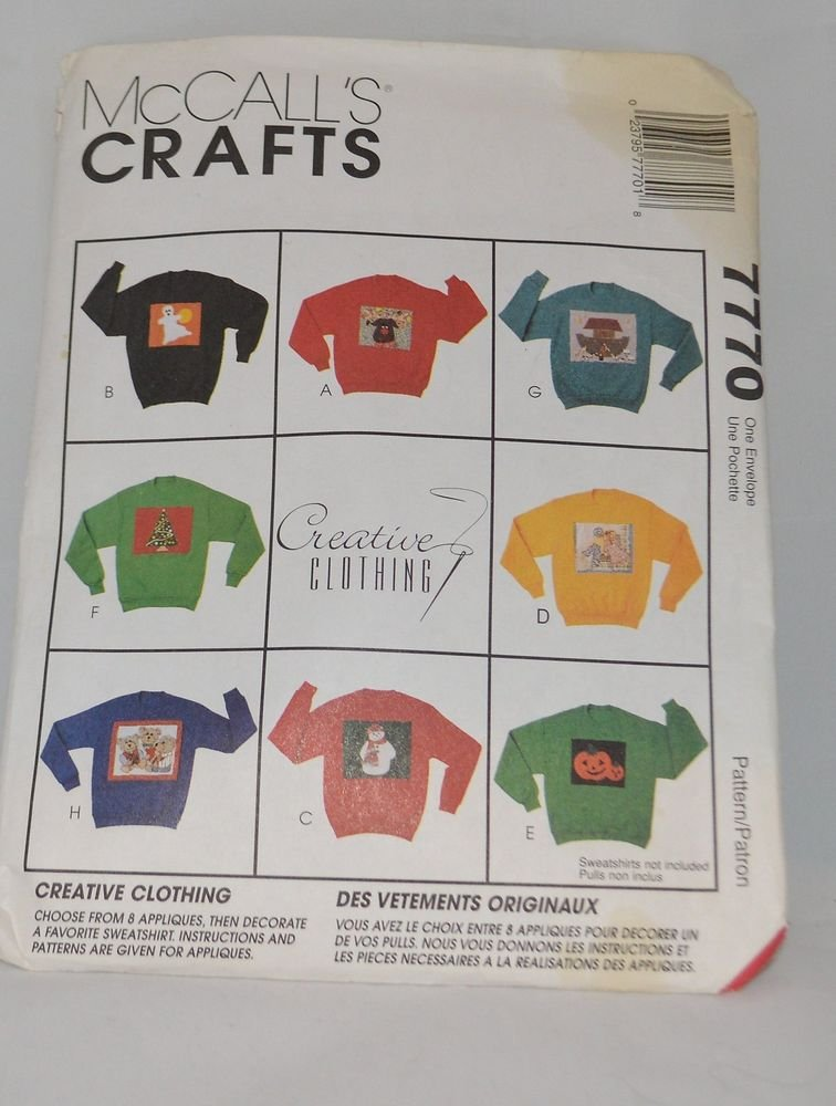 McCall's Sewing Pattern 7770 - Creative Clothing 8 Appliqué Patterns