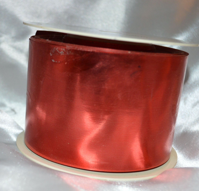 "SOPP Metallic Poly Red Shiny Ribbon 50 yards - 2 3/4"""