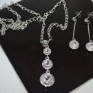 Clear Crystal Earring set Silver Tone Metal Dangle