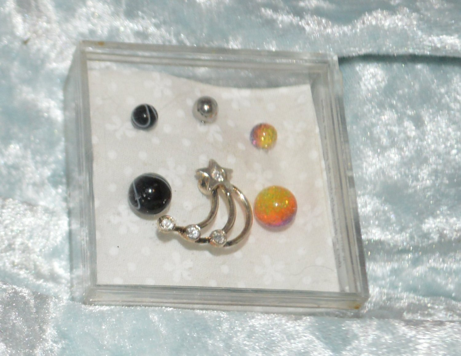 Clear Shooting Star Black White & Orange Yellow Acrylic Pierced Belly Ring Navel