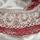 "Ivory & Maroon Lacey Circle Design Trim to Sew 361"""" x 2"" 10 yrds+"