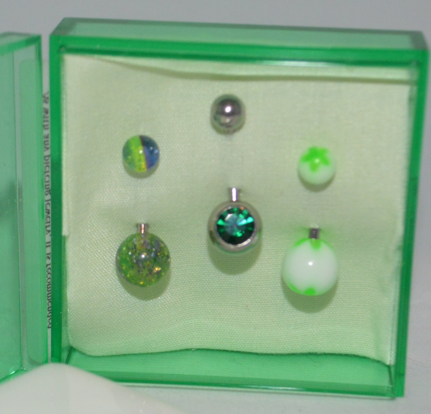 Get Your Green On Green Crystal Green White & Mix Acrylic Belly Ring