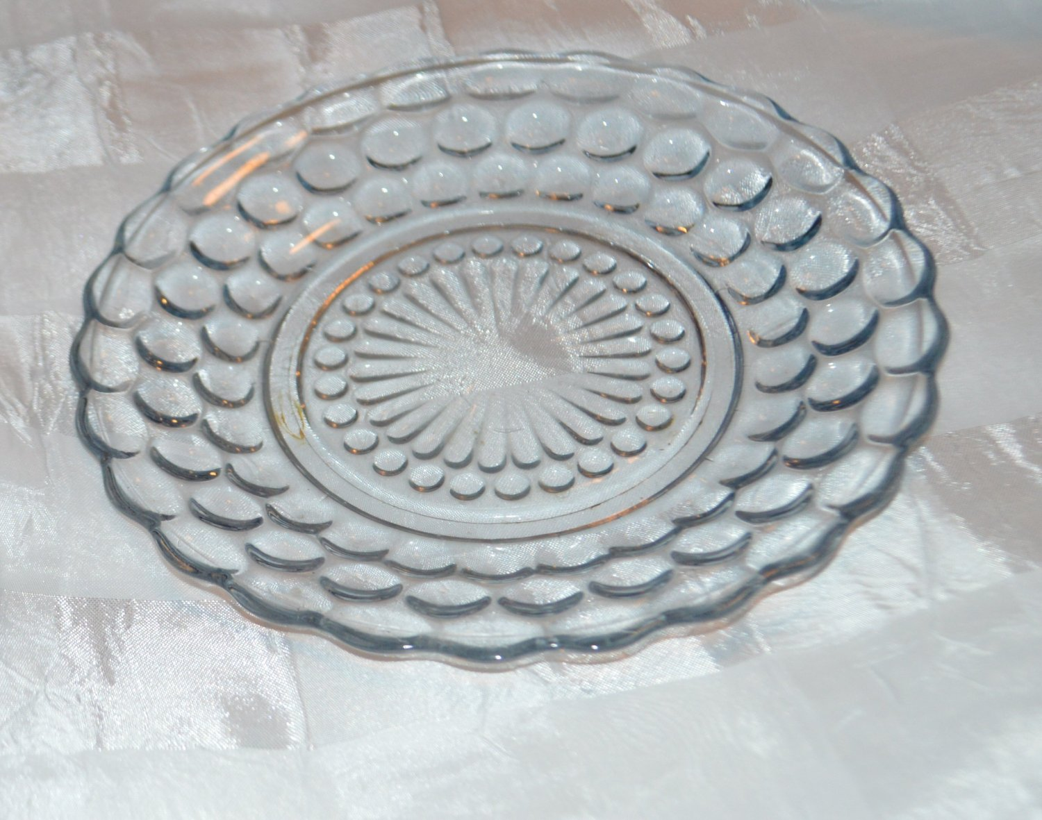 Clear Blue Plate Dish Hobnail Marble or Bubble Design