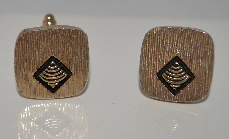 Pair of Gold toned metal cuff links Black enamel Diamond Gold Ridges