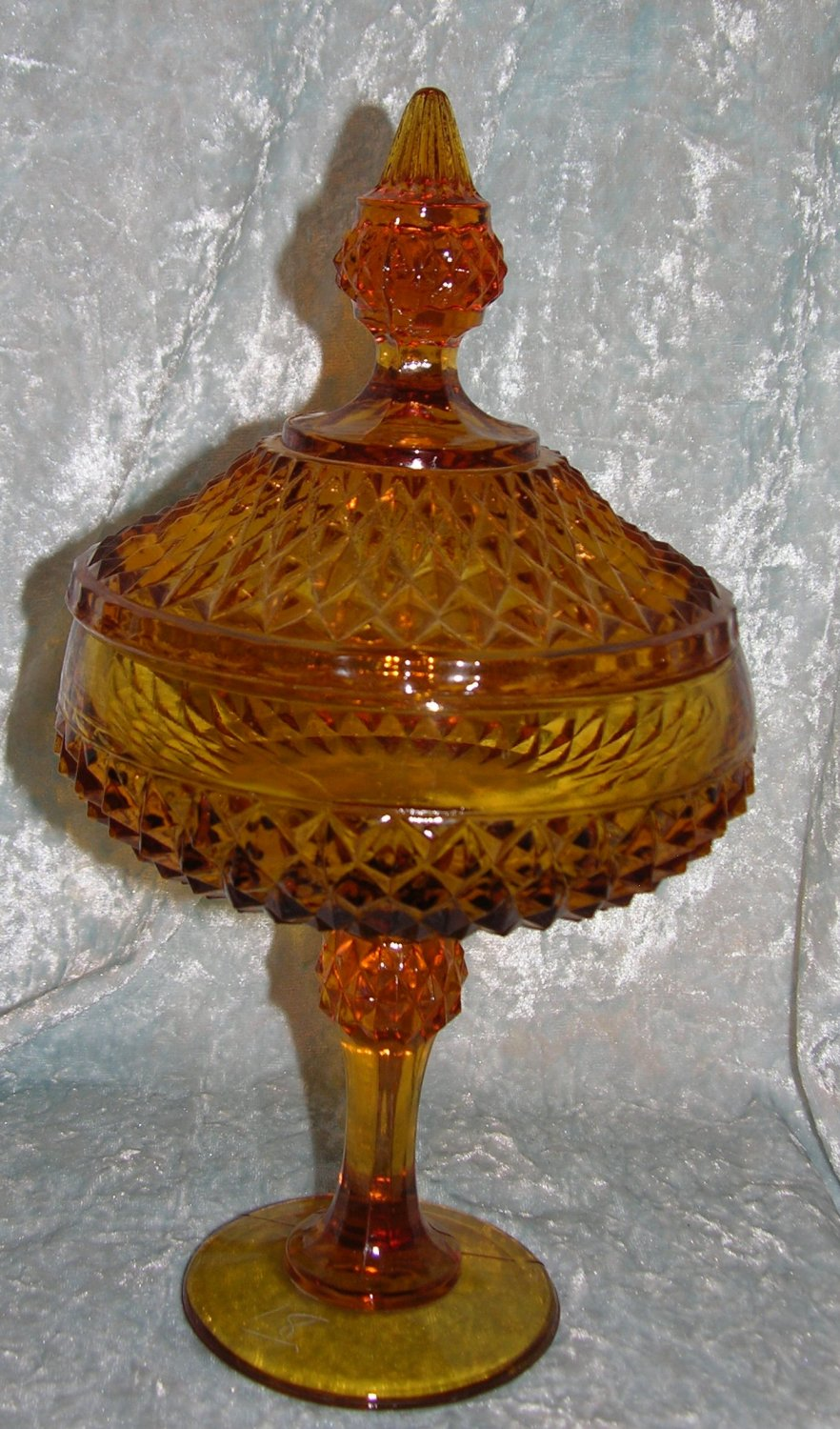 """Vintage Amber Cut Chrystal Tall Cover Dish Bowl Compote 12"""" tall"""