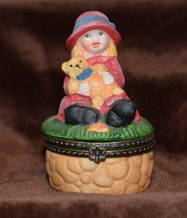 Little Girl W/ Teddy Bear on Stone Pedestal Porcelain Hinged Trinket Box