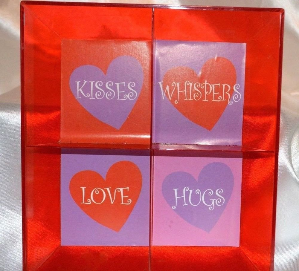 """Red Plastic Valentines Candy DIsh """"Kisses, Whispers, Love, Hugs"""