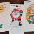 Wrights Classic Christmas Santa Candles Sew Iron on Appliqués