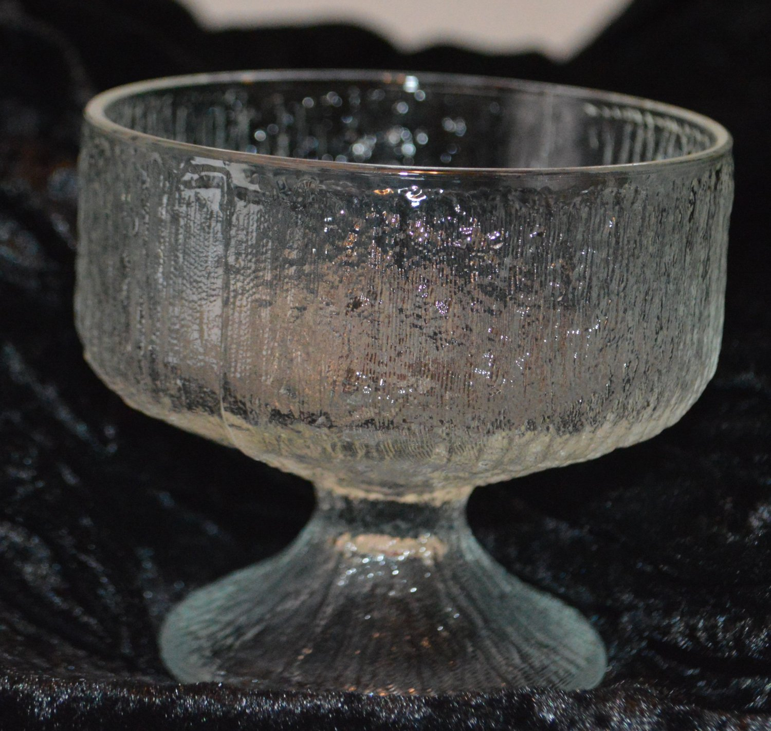 Indiana Crystal Clear Glass Textured Like Tree Bark Pattern Wine Glass Goblet Ch
