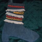 Hand Crafted Blue Jean Christmas Boot Stocking