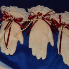 3 Netted Gloved Hands Christmas Ornaments Red and Cream Cotton