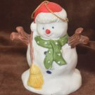 ROC Ceramic Snowman Bell in Santa Christmas Hat
