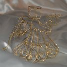 Gold Painted Wire Sparkles Angel Christmas Tree Ornament