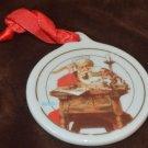 Porcelain Christmas Ornament Santa Reading Letters Norman Rockwell
