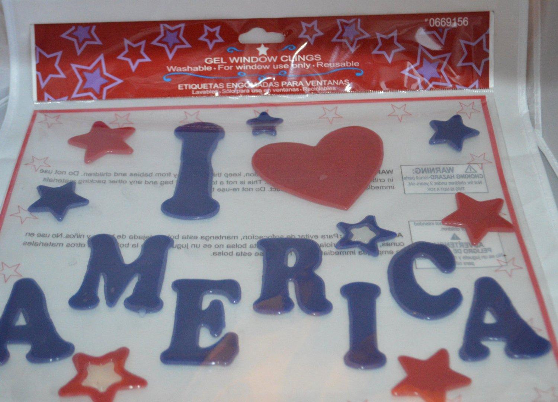 I Love America Gel Window Clings Red Heart White Blue Decoration