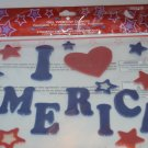 I Love America Gel Window Clings Red Heart White Blue Decoration