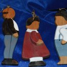 Hand Crafted & Painted Painted 3 People Figurines Wood Christmas Ornament