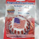 "2"" Cupcake Creations Baking cups No Pan needed Red  & White Stripes - Blue & Sta"