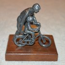 Pewter Man with Child on Bike - Dad & Son - Big Brother to Brother