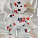 Ty Beanie Baby Glory Bear USA American Star 4th of July Patriotism 1997 Memorial