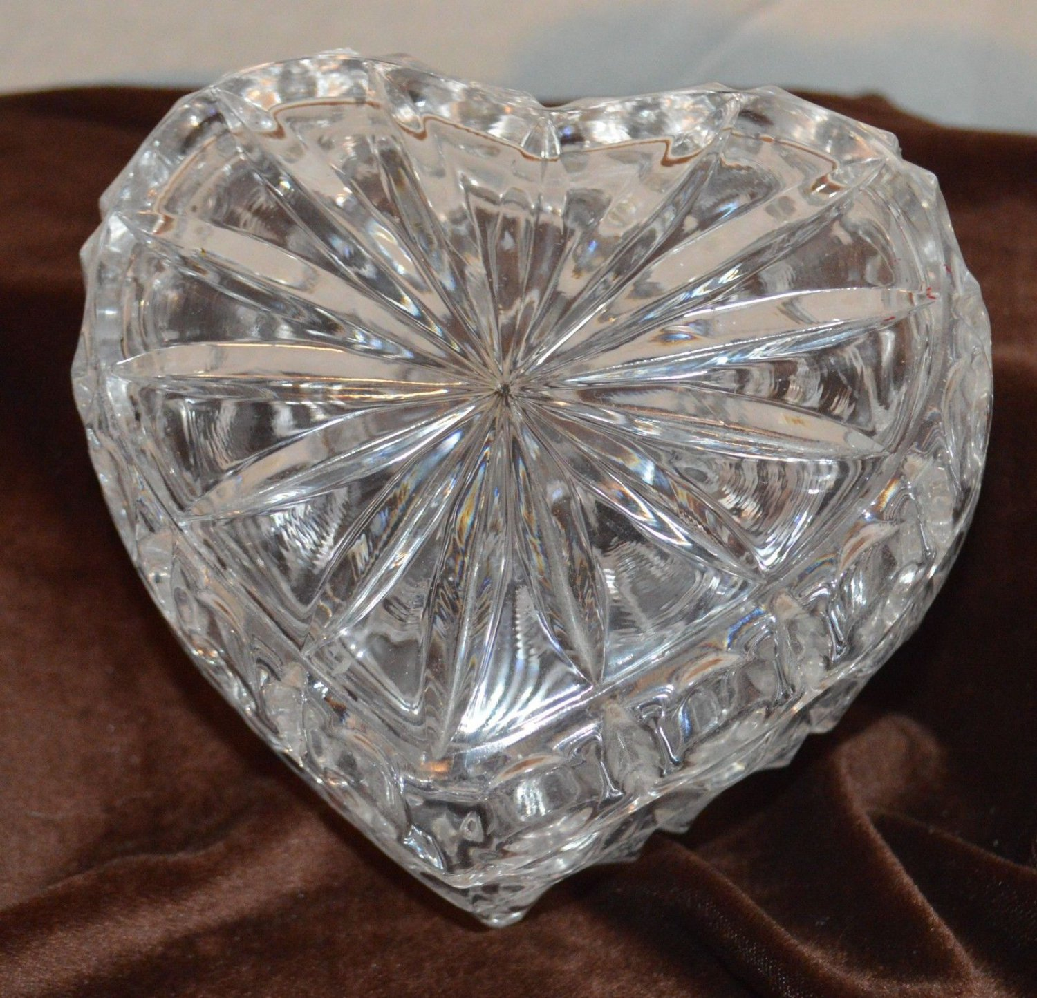 Clear Crystal Glass Heart shaped Trinket Box