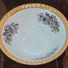 Orange Trim Purple Violets Bowl Cereal Salad Fine Serving Japan