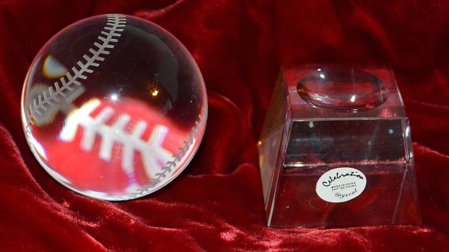 Celebration Crystal Baseball and Stand Clear Etched Case