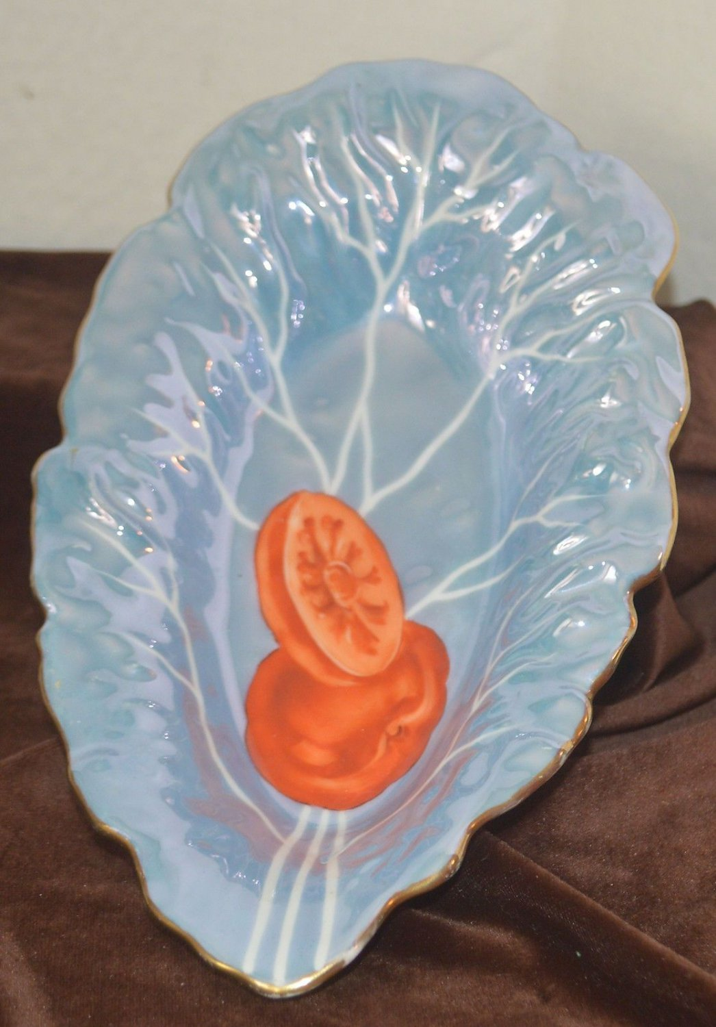 Beautiful Leaf Shaped Plate Blue Glaze with Tomato Hand Painted