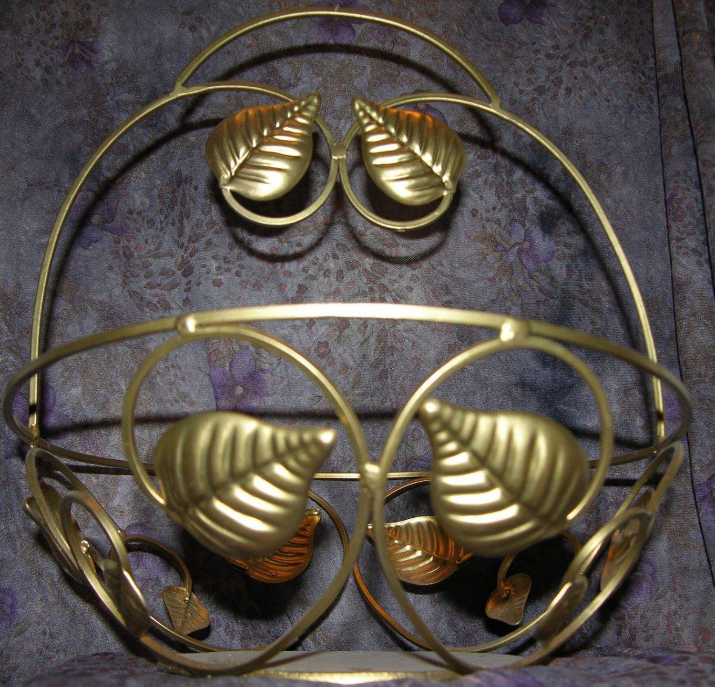 * Brass Tone Basket Leaf and Vine Design in Swirls
