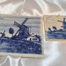 """Windmill cobalt Blue appliqué tile design 3"""" square & 4 1/4"""" square Tiles"""