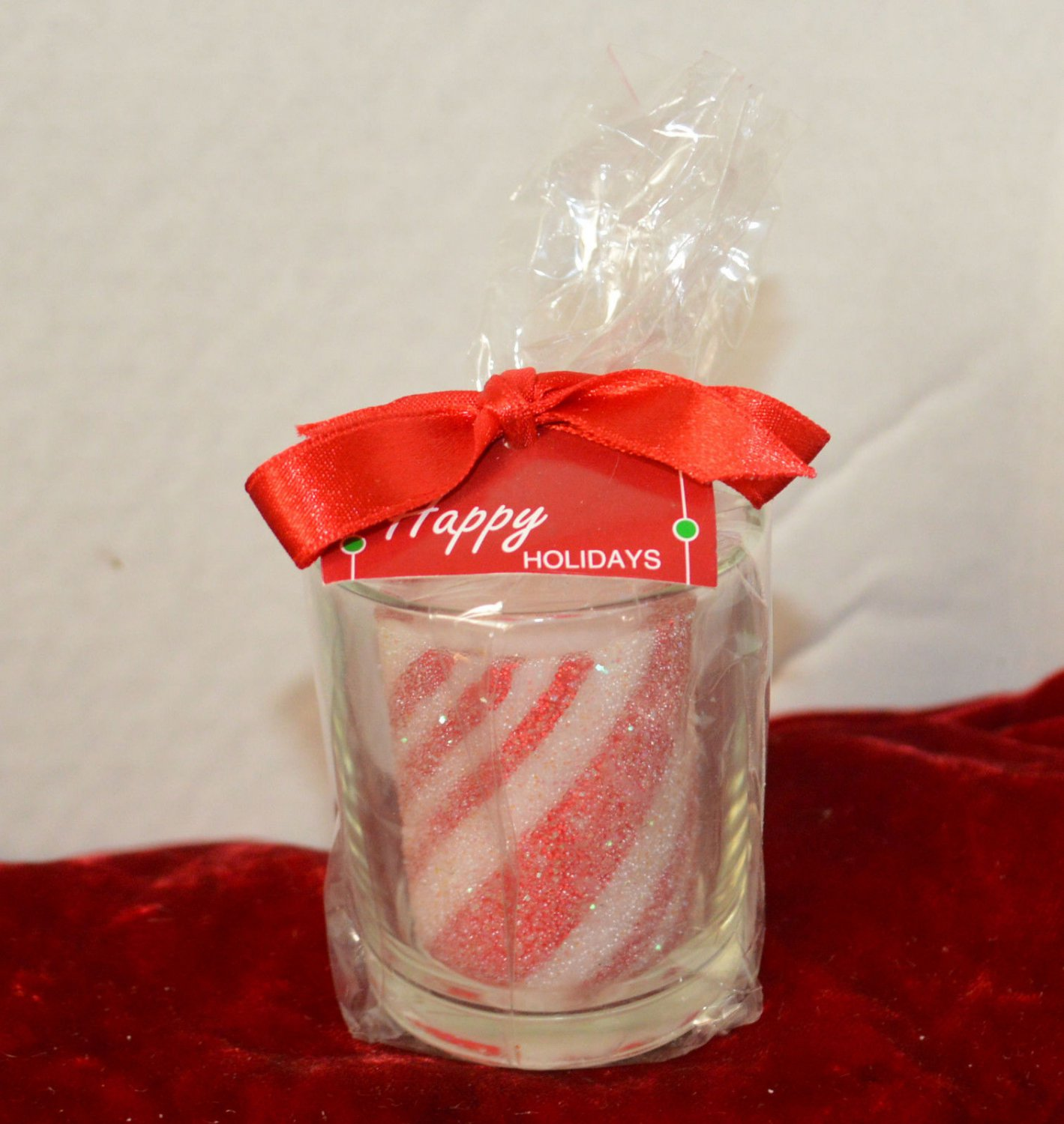 Candy Cane Coloring Candle Inside Clear Votive Candle Holder