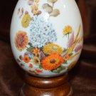 Avon Autumn Color Flower Bouquet Porcelain Egg Shape with Base