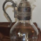 Silver Neck Handle & Lid tall Glass Kettle