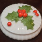 Holly Small Christmas Decoration Porcelain Oval Trinket Box Ron Gordon