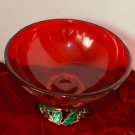 Teleflora Ruby Red Glass Bowl Holly on Gold Tone Metal base